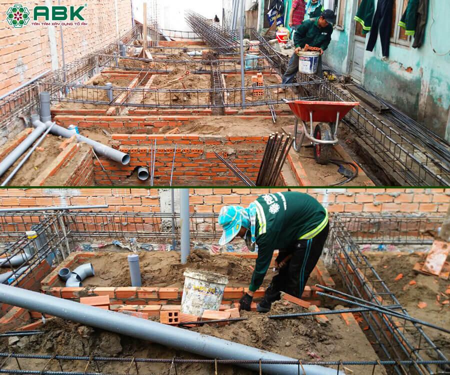 Thi công xây tường và hệ thống thoát nước nhà anh Dũng Quận Tân Phú