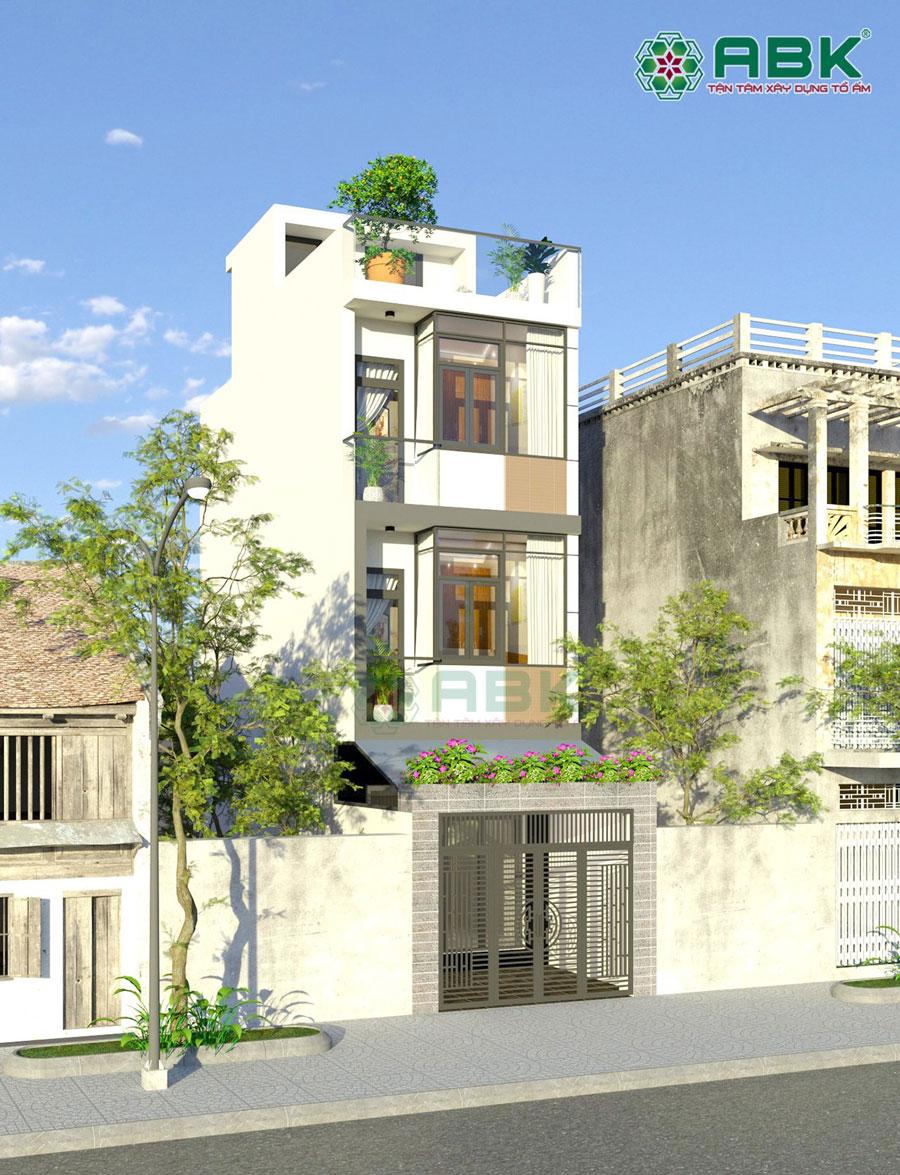 Mẫu nhà phố 3 tầng sân thượng diện tích 4m x 8m MS43