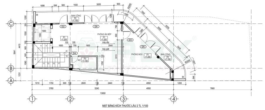 Bố trí mặt bằng nội thất lầu 2 nhà góc diện tích 4,4m x 14m