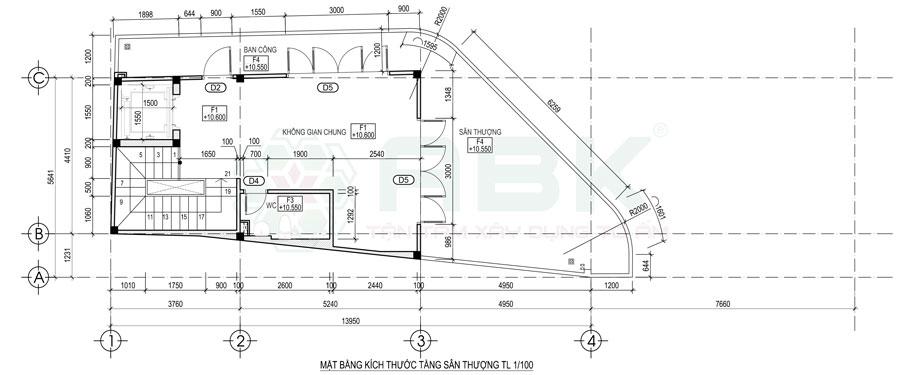 Bố trí mặt bằng nội thất sân thượng nhà góc diện tích 4,4m x 14m