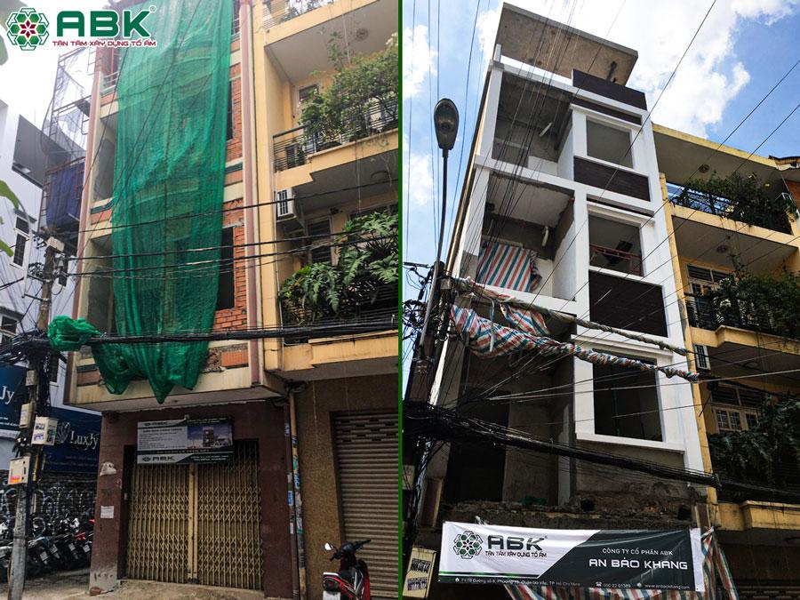 Sửa chữa nâng tầng nhà 3 tầng thành nhà 4 tầng sân thượng Quận 4