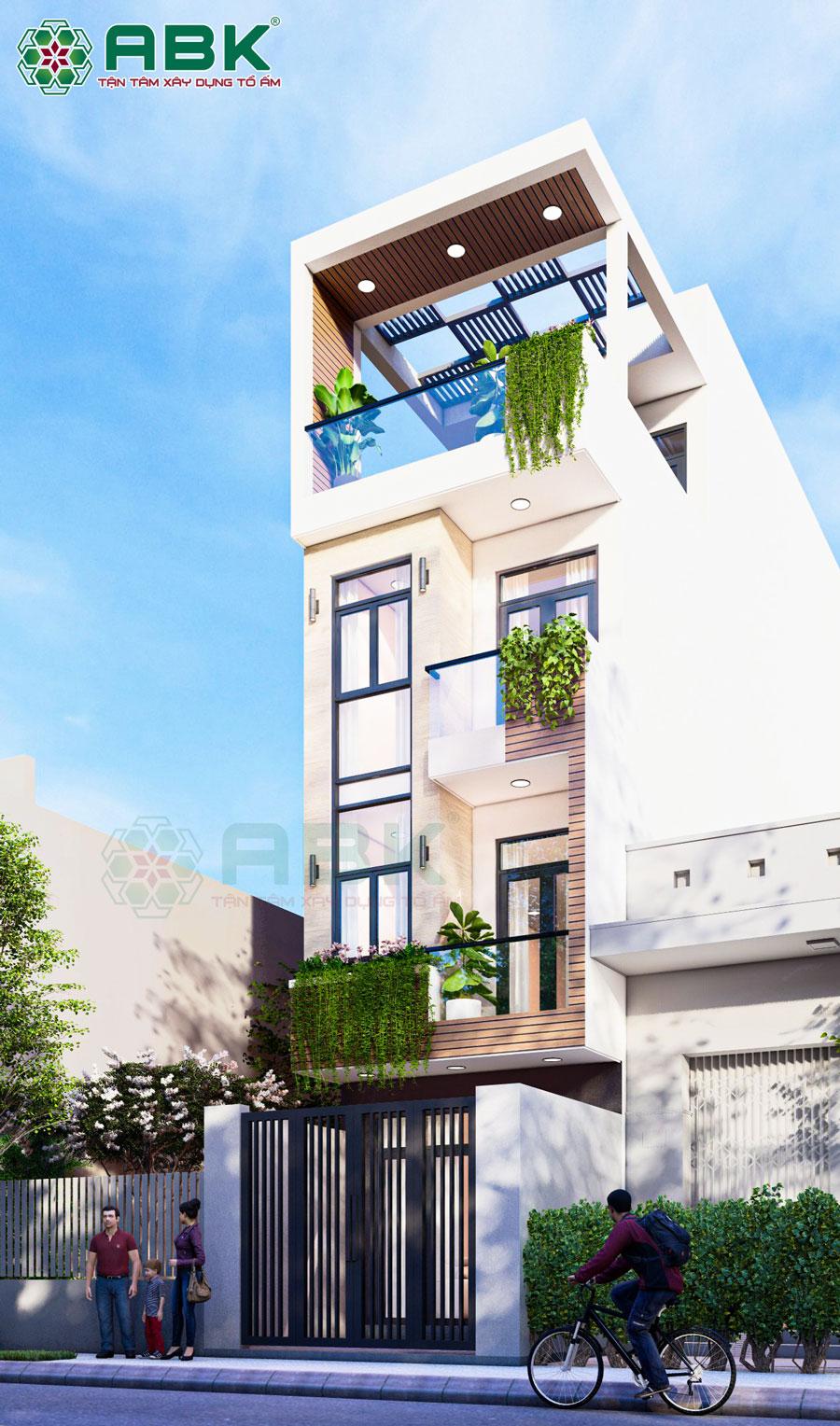 Mẫu thiết kế nhà 3 tầng 1 sân thượng đẹp ở Huyện Bình Chánh