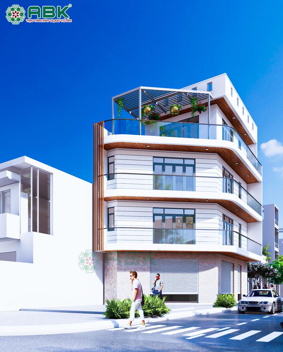 Mẫu nhà góc 3 tầng sân thượng diện tích 4,4m x 14m