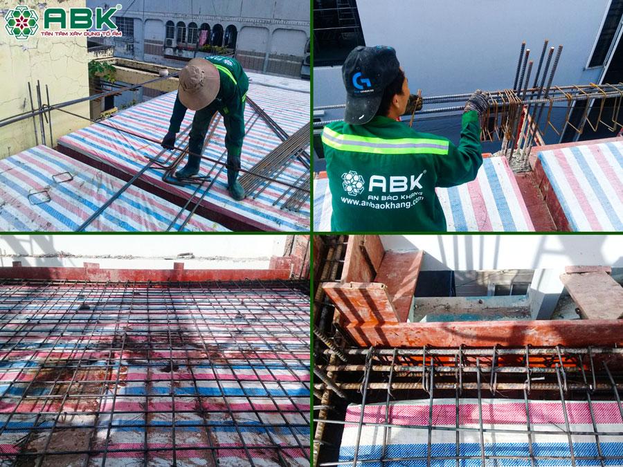 Thi công đan thép tầng 4 nhà anh Lộc Quận 4