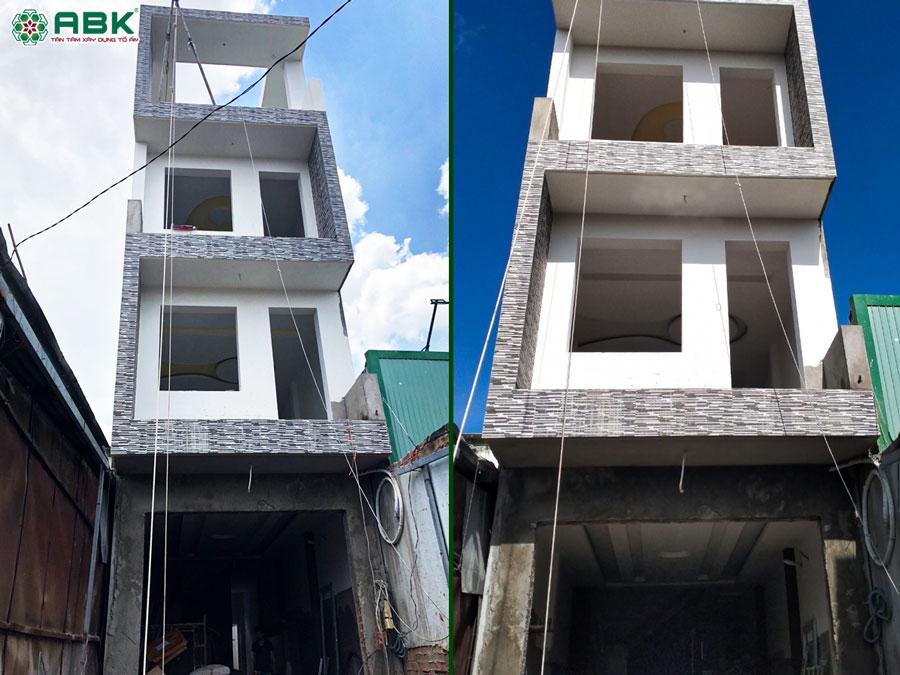 Thi công xây nhà 1 trệt 2 lầu sân thượng chị Lan Huyện Hóc Môn