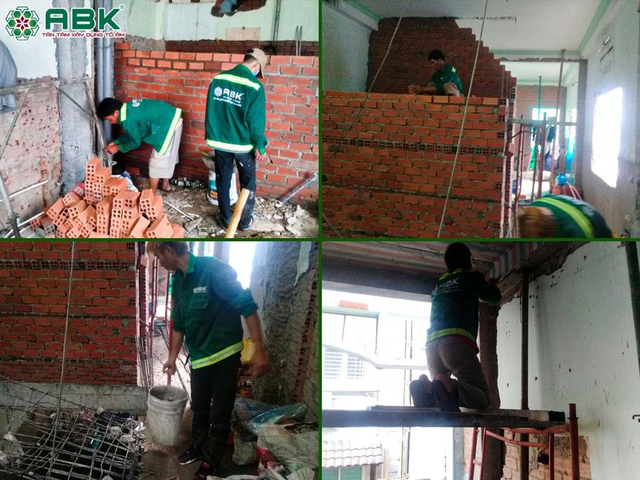 Thi công sữa chữa xây ban công tầng 1, tầng 2, tầng 3 nhà anh Lộc