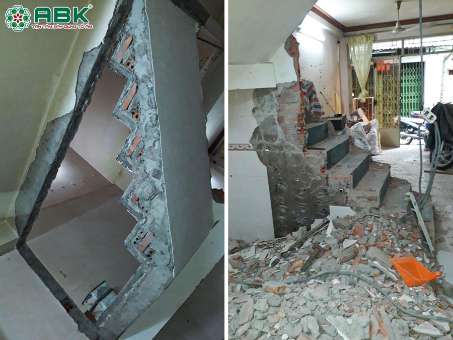 Thi công phá bỏ tường gạch cũ nhà anh Thịnh