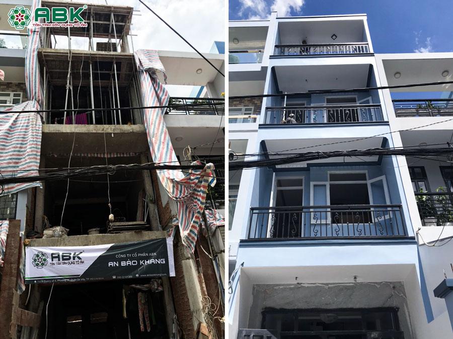 Xây nhà 3 tầng sân thượng nhà anh Hùng ở Quận Bình Thạnh