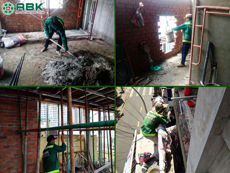 Thi công xây tô tường tầng 4 nhà anh Lộc quận 4