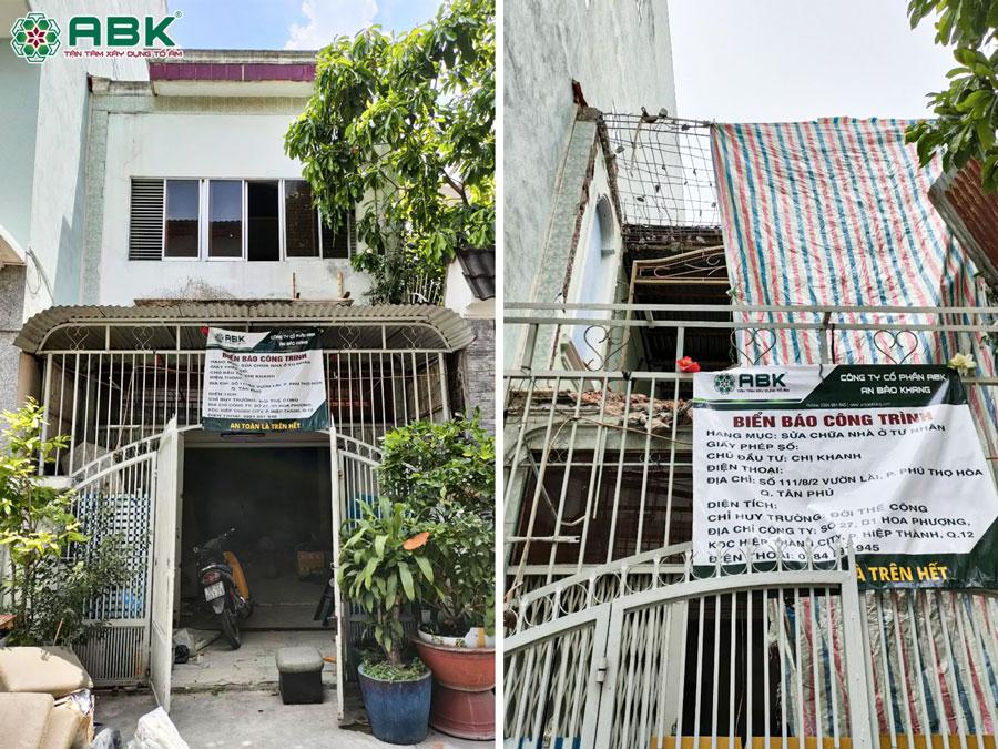 Hiện trạng công trình nha chị Khanh ở Quận Tân Phú