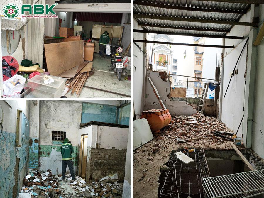 Công tác thi công tháo dỡ nhà chị Khánh ở Quận Tân Phú