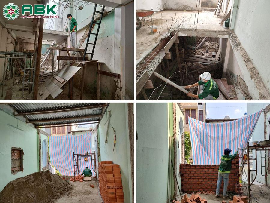 Thi công sửa nhà 1 trệt 1 lầu nhà chị Khánh ở Quận Tân Phú