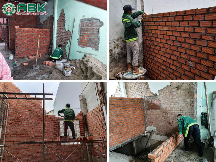 Thi công xây tường ngăn phòng cải tạo lầu 1 nhà chị Khánh