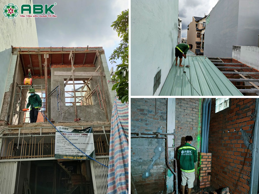 Thi công xây tường, cải tảo mặt tiền, mái tôn nhà chị Khánh