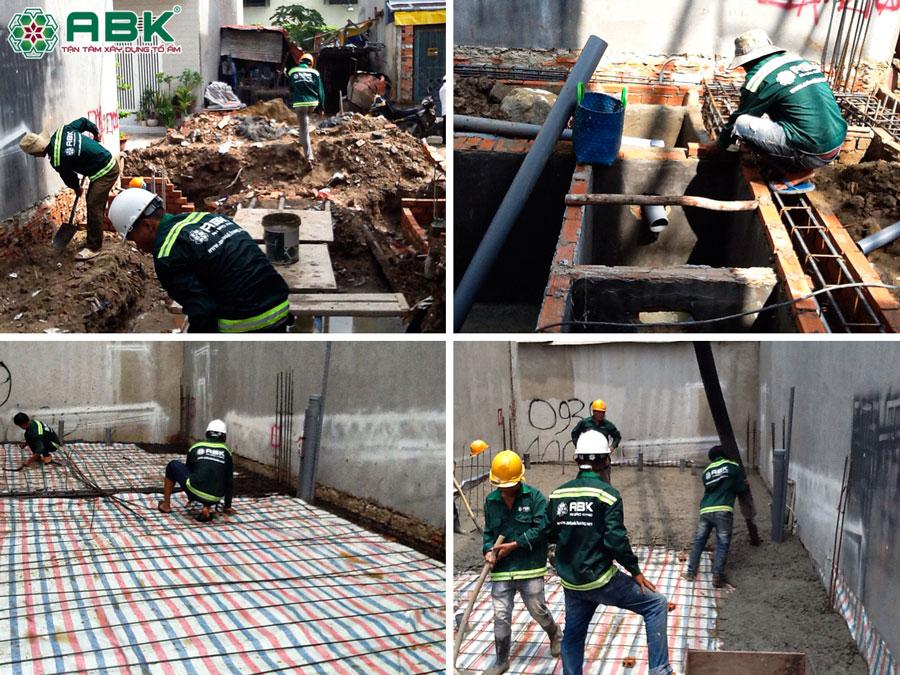 Thi công đào móng đỗ sàn bề tông nhà chị Trinh