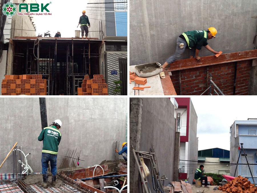 Thi công dựng cột xây tương vay