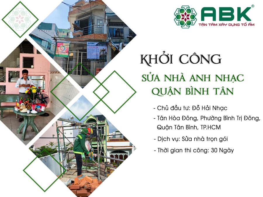 Khởi công sửa chữa nhà anh Nhạc ở Quận Bình Tân
