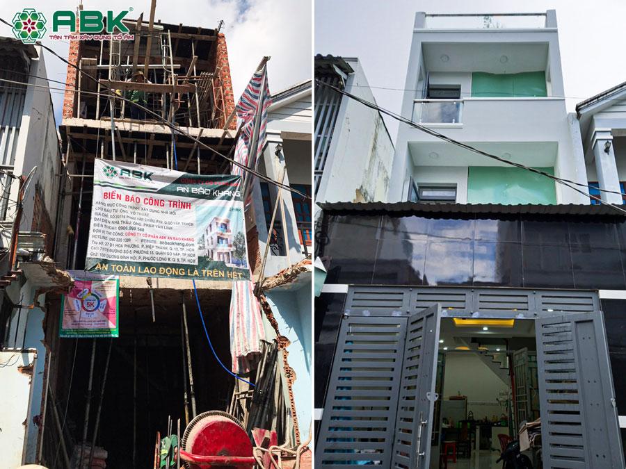 Xây nhà 3 tầng sân thượng nhà anh Thuật ở Quận Gò Vấp